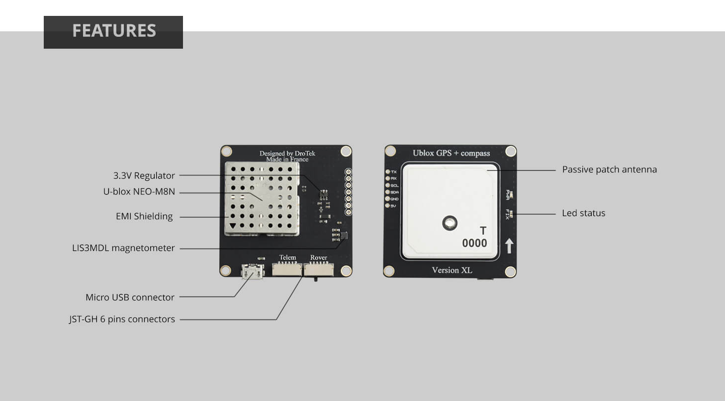 DP0106 (Ublox NEO-M8N GNSS + LIS3MDL compass)